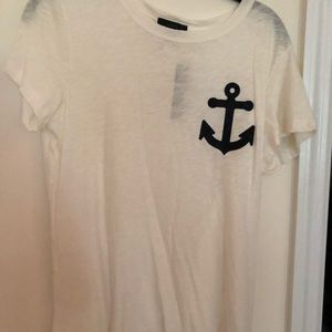 NWT White J Crew Anchor Patch Tee